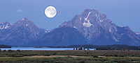Panorama, Grand Teton National Park, Full Moon over Teton Mountain Range, Wyoming, USA.