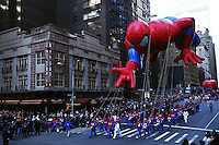 USA, NEW YORK, November 24, 2011.A spider man balloon floats in 7 Avenue while American celebrated the Macy's Thanksgiving day parade in New York, November 24,2011. VIEWpress / Kena Betancur.The Macy's parade is considered by many to be the official start of the holiday season. Balloons, bands and dignitaries trooped through midtown Manhattan Thursday morning for the 85th annual Macy's Thanksgiving Day Parade. Media Reported.
