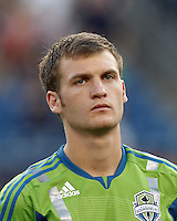 Seattle Sounders FC midfielder Alex Caskey (27). In a Major League Soccer (MLS) match, the New England Revolution tied the Seattle Sounders FC, 2-2, at Gillette Stadium on June 30, 2012.