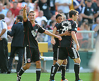 DC United forward Blake Brettschneider (29) celebrates with teammates Andy Najar (left) and Perry Kitchen behind his score in the minute 58th of the game.   AFC Ajax defeated DC United 2-1 during an International Friendly at RFK Stadium Sunday May 22, 2011.