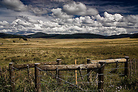 An entrance through the fence at the Valle Grande in the Valles Caldera National Preserve, in the Jemez Mountains of north-central New Mexico.