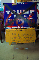 Rockville,MD November 7 2016, USA: A Trump campaign sign was vandalized and brought to the the Montgomery County, MD Republican campaign headquarters , in Rockville, MD, the day before the Presidential elections. Patsy Lynch/MediaPunch