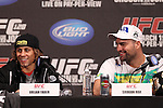 March 16, 2011; New York, NY; USA; Urijah Faber and Mauricio Rua at the final press conference for UFC 128.  The card will take place on Saturday March 19, 2011, at the Prudential Center in Newark, NJ.