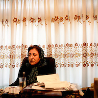 Shirin Ebadi, a human rights lawyer who has won the Nobel Peace prize, working in her Tehran office.