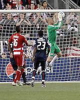 New England Revolution goalkeeper Preston Burpo (24) saves an attempt at goal.The New England Revolution drew FC Dallas 1-1, at Gillette Stadium on May 1, 2010