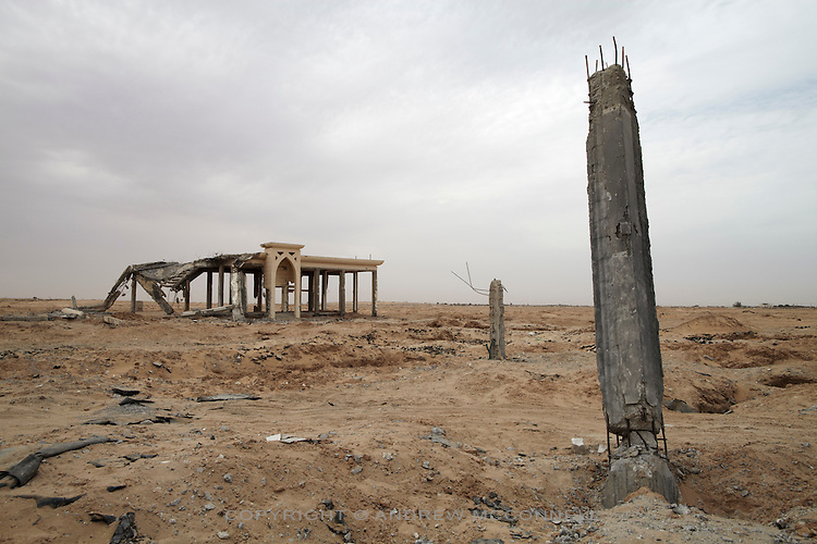 The remains of Yasser Arafat International Airport in southern Gaza. The airport was destroyed by Israeli warplanes in 2001 and 2002, and has now become a source of building materials for much needed  reconstruction in Gaza.