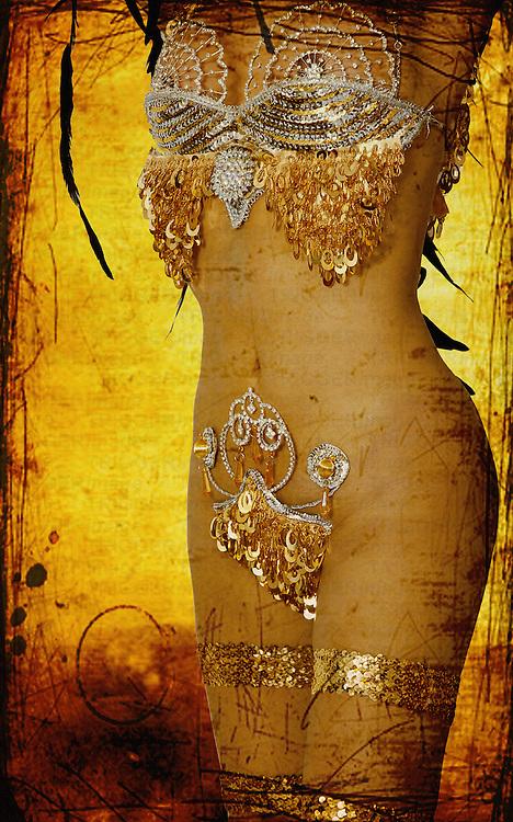 A female figure covered in jewellery