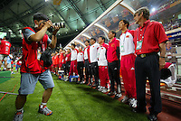 Photographers take pictures of the South Korea team during the FIFA World Cup 2002.