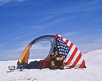 American flag and a tent in White Sands, NM