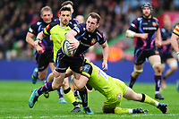 Max Bodilly of Exeter Chiefs looks to offload the ball after being tackled. Anglo-Welsh Cup Final, between Exeter Chiefs and Leicester Tigers on March 19, 2017 at the Twickenham Stoop in London, England. Photo by: Patrick Khachfe / JMP