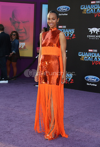 "HOLLYWOOD, CA - April 19: Zoe Saldana, At Premiere Of Disney And Marvel's ""Guardians Of The Galaxy Vol. 2"" At The Dolby Theatre  In California on April 19, 2017. Credit: FS/MediaPunch"