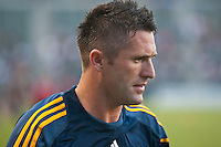 CARSON, CA – August 20, 2011: LA Galaxy forward Robbie Keane (14) prior to during the match between LA Galaxy and San Jose Earthquakes at the Home Depot Center in Carson, California. Final score LA Galaxy 2, San Jose Earthquakes 0.