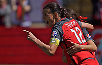 Portland, OR - Saturday April 15, 2017:  Christine Sinclair celebrates a goal during a regular season National Women's Soccer League (NWSL) match between the Portland Thorns FC and the Orlando Pride at Providence Park.