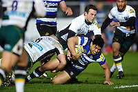 Ben Tapuai of Bath Rugby is tackled to ground. Aviva Premiership match, between Bath Rugby and Northampton Saints on February 10, 2017 at the Recreation Ground in Bath, England. Photo by: Patrick Khachfe / Onside Images