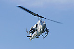 United States Marine Corps AH-1W Super Cobra flown by Marine Light Attack Helicopter Squadron 367 (HMLA 367) comes in low during the 2006 San Francisco Fleet Week Airshow. The squadron is based at Marine Corps Air Station Camp Pendleton, California and falls under the command of Marine Aircraft Group 39 (MAG-39) and the 3rd Marine Aircraft Wing (3rd MAW).