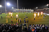 The Bath Rugby team run out onto the field. Aviva Premiership match, between Bath Rugby and Northampton Saints on February 10, 2017 at the Recreation Ground in Bath, England. Photo by: Patrick Khachfe / Onside Images