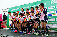 The Japan Women's team pose with their bronze medals after the competition. FISU World University Championship Rugby Sevens Closing Ceremony on July 9, 2016 at the Swansea University International Sports Village in Swansea, Wales. Photo by: Patrick Khachfe / Onside Images