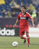 Chicago Fire midfielder Pavel Pardo (17) brings the ball forward. In a Major League Soccer (MLS) match, the New England Revolution defeated Chicago Fire, 2-0, at Gillette Stadium on June 2, 2012.
