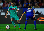 Levante's Pedro Lopez (R) vies for the ball with FC Barcelona's Andres Iniesta (L) during the Spanish league football match Levante UD vs FC Barcelona on April 14, 2012 at the Ciudad de Valencia Stadium in Valencia. (Photo by Xaume Olleros/Action Plus)