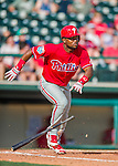 11 March 2016: Philadelphia Phillies infielder Angelys Nina in action during a Spring Training pre-season game against the Atlanta Braves at Champion Stadium in the ESPN Wide World of Sports Complex in Kissimmee, Florida. The Phillies defeated the Braves 9-2 in Grapefruit League play. Mandatory Credit: Ed Wolfstein Photo *** RAW (NEF) Image File Available ***