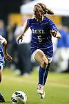 18 October 2012: Duke's Kaitlyn Kerr. The University of North Carolina Tar Heels defeated the Duke University Blue Devils 2-0 at Koskinen Stadium in Durham, North Carolina in a 2012 NCAA Division I Women's Soccer game.