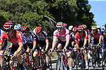 The peloton with race leader Maglia Rosa Andre Greipel (GER) Lotto-Soudal pass the stunning coastline at Villasimius during Stage 3 of the 100th edition of the Giro d'Italia 2017, running 148km from Tortoli to Cagliari, Sardinia, Italy. 7th May 2017.<br /> Picture: Eoin Clarke | Cyclefile<br /> <br /> <br /> All photos usage must carry mandatory copyright credit (&copy; Cyclefile | Eoin Clarke)