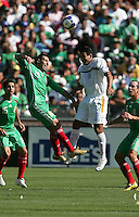 Luis Miguel Noriega (19) and Wilber Sanchez (9) go up for the header. Mexico defeated Nicaragua 2-0 during the First Round of the 2009 CONCACAF Gold Cup at the Oakland, Coliseum in Oakland, California on July 5, 2009.