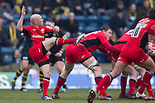 Peter Stringer of Saracens RFC clears the saracens line - London Wasps RFC vs Saracens RFC - Aviva Premiership Rugby at Adams Park, Wycombe Wanderers FC - 12/02/12 - MANDATORY CREDIT: Ray Lawrence/TGSPHOTO - Self billing applies where appropriate - 0845 094 6026 - contact@tgsphoto.co.uk - NO UNPAID USE.