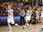 Apr. 1, 2012; Natalie Novosel and Skylar Diggins celebrate after Notre Dame's 83-75 overtime win over UConn in the Women's Final Four at the Pepsi Center in Denver, CO...Photo by Matt Cashore/University of Notre Dame