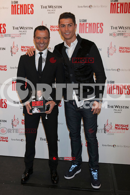 Real Madrid&acute;s Cristiano Ronaldo (R) and Jorge Mendes attend Jorge Mendes&acute;s book presentation in Madrid, Spain. January 22, 2015. (ALTERPHOTOS/Victor Blanco) /NortePhoto<br />