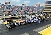 Jul, 10, 2011; Joliet, IL, USA: NHRA top fuel dragster driver Antron Brown (near lane) alongside Troy Buff during the Route 66 Nationals at Route 66 Raceway. Mandatory Credit: Mark J. Rebilas-