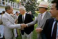 Ketchum, Idaho, U.S.A, August, 1989. Jack Hemingway congratulated by friends after his second wedding with Anglela Holvey.