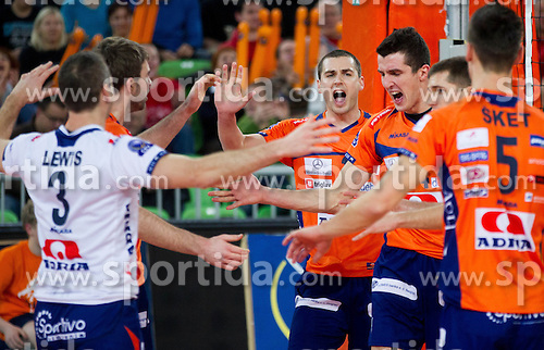 Andrej Flajs and other players of ACH celebrate during volleyball match between ACH Volley and Lube Banca Marche Macerata (ITA) in 5th Leg of Pool D of 2013 CEV Champions League on December 5, 2012 in Arena Stozice, Ljubljana, Slovenia. ACH defeated Macerata 3-1. (Photo By Vid Ponikvar / Sportida)