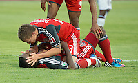 18 July 2012: Toronto FC midfielder Terry Dunfield #23 celebrates a goal with Toronto FC defender Doneil Henry #4 during an MLS game between the Colorado Rapids and Toronto FC at BMO Field in Toronto, Ontario..Toronto FC won 2-1..