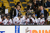 Louis Liotti (Northeastern - 5), ?, Greg Cronin (Northeastern - Head Coach), Steve Quailer (Northeastern - 10), ?, ?, Joe Vitale (Northeastern - 26), Albie O'Connell (Northeastern - Assistant Coach) - The University of Massachusetts-Lowell River Hawks defeated the Northeastern University Huskies 3-2 (OT) in their Hockey East Semi-Final match on Friday, March 20, 2009, at the TD BankNorth Garden in Boston, Massachusetts.
