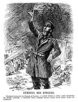 "Burning His Fingers. Bolshevist (posing for the Triumph of Freedom). ""I don't think I feel like carrying on much longer. I believe this cursed thing must have been made in Germany."" (a Bolshevik stands with a touch paper burning the flames of Anarchy during WW1)"