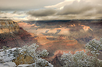Grand Canyon view from Yavapai Point after a heavy winter snowfall
