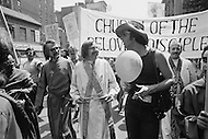 27 Jun 1971 --- Demonstrators wearing crosses and clerical style robes march in the second Gay Pride Parade in New York City. --- Image by © JP Laffont/Sygma/CORBIS