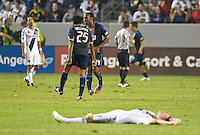 CARSON, CA - July 4, 2012: Philadelphia Union players Sheanon Williams (25) and Amobi Okugo (14) celebrate the game winning goal during the LA Galaxy vs Philadelphia Union match at the Home Depot Center in Carson, California. Final score LA Galaxy 1, Philadelphia Union 2.