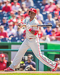15 September 2013: Philadelphia Phillies outfielder Roger Bernadina in action against the Washington Nationals at Nationals Park in Washington, DC. The Nationals took the rubber match of their 3-game series 11-2 to keep Washington's wildcard hopes alive. Mandatory Credit: Ed Wolfstein Photo *** RAW (NEF) Image File Available ***