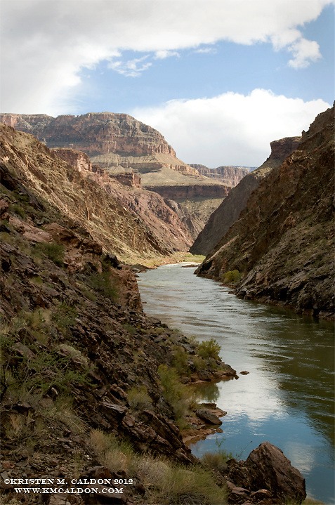 A very rare view of the Colorado River below Crystal Rapid. <br /> I'm really glad that I had some dramatic light when I was making my way through, as I don't think I'd ever go back here voluntarily!