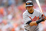 21 May 2006: Nick Markakis, outfielder for the Baltimore Orioles, at bat during a game against the Washington Nationals at RFK Stadium in Washington, DC. The Nationals defeated the Orioles 3-1 to take 2 of 3 games in their first inter-league series...Mandatory Photo Credit: Ed Wolfstein Photo..