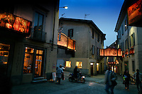 Streets of Mendrisio are decorated in candle-lit canvas murals for an Easter Processional.<br /> In 1657, the town of Mendrisio started this &quot;Processioni Storiche Giovedi Venerdi Santo Mendrisio&quot; and they have been continuing the tradition for 207 years.  200 townspeople participate in the drama.