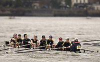 Chiswick, London. ENGLAND,11.03.2006, No.9 Furnivall Sculling Club, pass Chiswick Pier, during the 2006 Women's Head of the River Race Mortlake to Putney  on Saturday 11th March    © Peter Spurrier/Intersport-images.com.. 2006 Women's Head of the River Race. Rowing Course: River Thames, Championship course, Putney to Mortlake 4.25 Miles