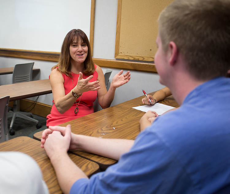 Lori Marchese talks to students about their class projects on September 24, 2015. Photo by Emily Matthews