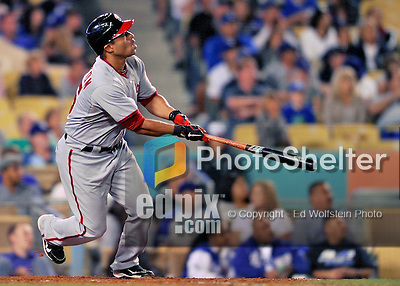 22 July 2011: Washington Nationals infielder Jerry Hairston watches his pinch-hit, grand-slam clear the fences in the 9th inning, sealing a win over the Los Angeles Dodgers at Dodger Stadium in Los Angeles, California. The Nationals defeated the Dodgers 7-2 in their first meeting of the 2011 season. Mandatory Credit: Ed Wolfstein Photo