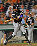 16 August 2008: Colorado Rockies' center fielder Willy Taveras at bat against the Washington Nationals at Nationals Park in Washington, DC.  The Rockies defeated the Nationals 13-6, handing the last place Nationals their 9th consecutive loss. ..Mandatory Photo Credit: Ed Wolfstein Photo