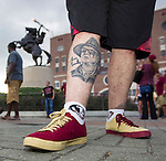 Commissioned by the Associated Press<br /> <br /> Florida State fan John Crump, from Keystone Heights, FL., shows off his signed Bobby Bowden tattoo outside Doak Campbell stadium in Tallahassee, Fla., Saturday, Sept. 20, 2014.  (AP Photo/Mark Wallheiser)