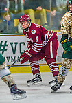25 November 2014: University of Massachusetts Minutemen Forward Keith Burchett, a Freshman from Oak Brook, IL, in action against the University of Vermont Catamounts at Gutterson Fieldhouse in Burlington, Vermont. The Cats defeated the Minutemen 3-1 to sweep the 2-game, home-and-away Hockey East Series. Mandatory Credit: Ed Wolfstein Photo *** RAW (NEF) Image File Available ***