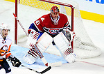 26 October 2009: Montreal Canadiens' goaltender Jaroslav Halak in action during the third period against the New York Islanders at the Bell Centre in Montreal, Quebec, Canada. The Canadiens defeated the Islanders 3-2 in sudden death overtime for their 4th consecutive win. Mandatory Credit: Ed Wolfstein Photo